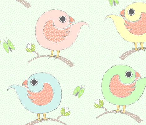 Hello Birdies fabric by glimmericks on Spoonflower - custom fabric