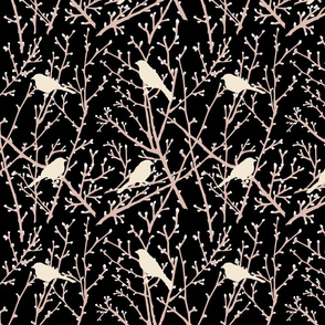 branchy birds -black/eggshell/blush