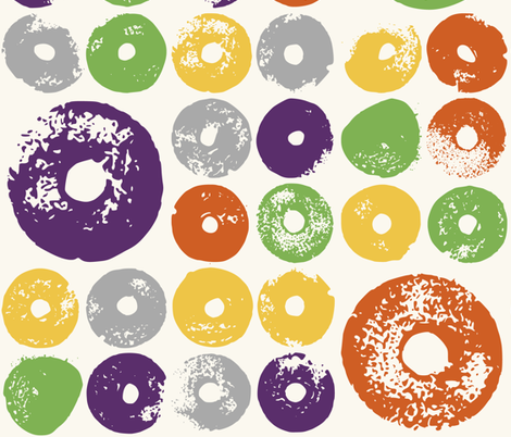 Fruit Dabs, orange, lemon, lime and aubergine fabric by mapmapart on Spoonflower - custom fabric