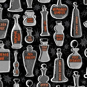 Animal Anatomy Potion Bottles with Spiders and Webs in Gray with Orange Accents on Black // Halloween Creepy Fun // Glass Containers with Silly Contents