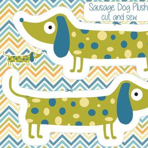 Sausage Dog Plushie, Wiener dog pillow, dachshund toy pillow