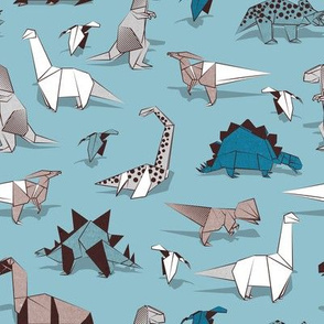 Origami dino friends // small scale // spaced version // blue background paper white & blue dinosaurs