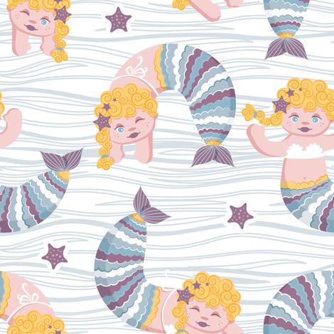 Mermaid waves // yellow blond hair fabric by selmacardoso on Spoonflower - custom fabric