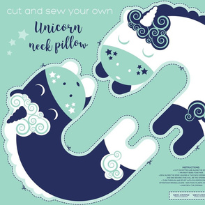 Cut and sew your own unicorn neck pillow // mint white and marine blue