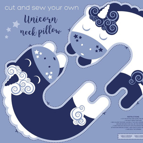 Cut and sew your own unicorn neck pillow // pale blue white and marine blue