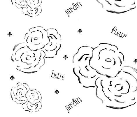 belle fleur jardin XL22- black and white fabric by drapestudio on Spoonflower - custom fabric