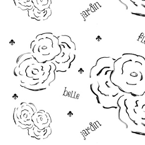 belle fleur jardin XL22- black and white
