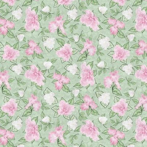 Flower Play- Small Antique Pale Pink Green