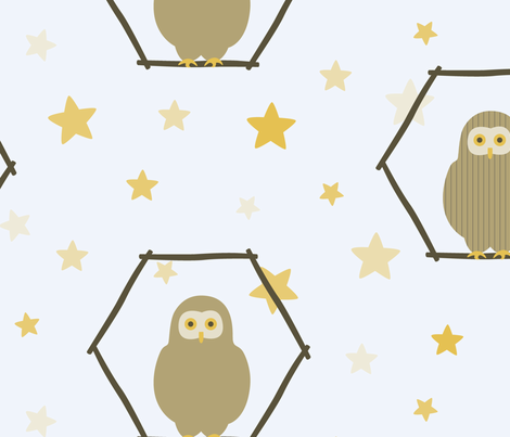 large scale owl wallpaper fabric by dafnag on Spoonflower - custom fabric