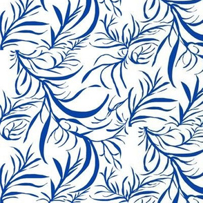 Feathery Leaves of Blue on White