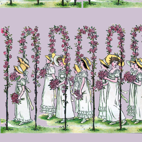 Procession on Lavender Ice | Large-Scale Spring Illustration fabric by lochnestfarm on Spoonflower - custom fabric