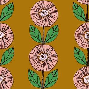 retro blocky flowers mustard