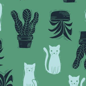 Linocut Cats and Plants