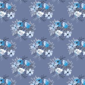 Blue Watercolor Bouquets