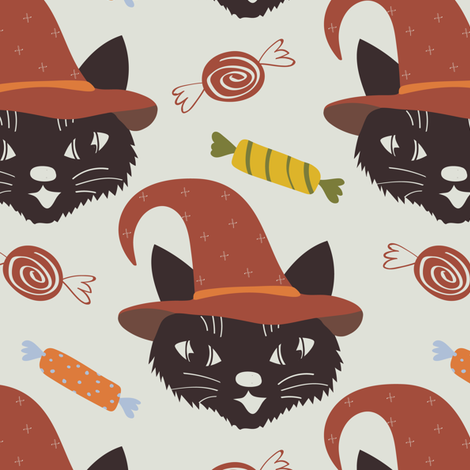 Vintage Halloween Cats fabric by dk_ryland on Spoonflower - custom fabric