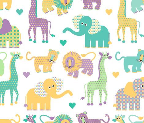 Savannah Baby in Aqua Yellow Green fabric by tracymillerdesigns on Spoonflower - custom fabric
