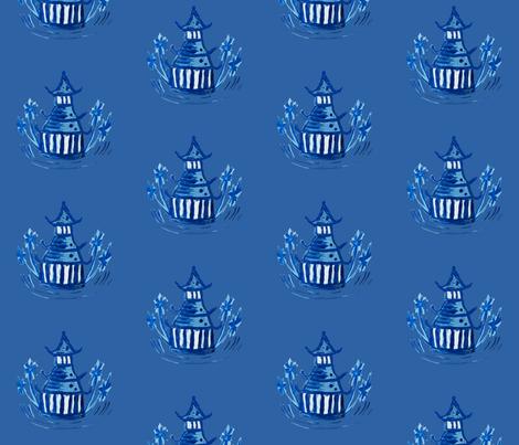 chinoiserie - pagoda blue fabric by lisakling on Spoonflower - custom fabric