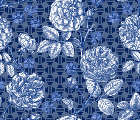 d'Aumont Chateau Chinoiserie delft1 fabric by lilyoake on Spoonflower - custom fabric