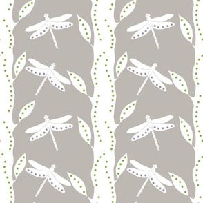 Dragonfly Forest Gray And White (Jumbo)
