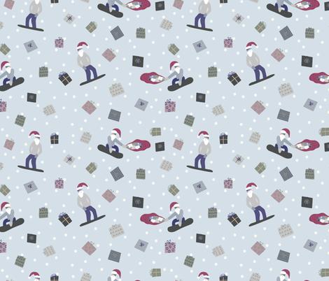 Snowboarding Santas fabric by dk_ryland on Spoonflower - custom fabric