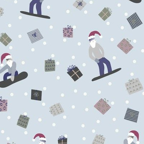 Snowboarding Santas