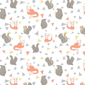 Woodlands-creatures-triangle-tile-fabric