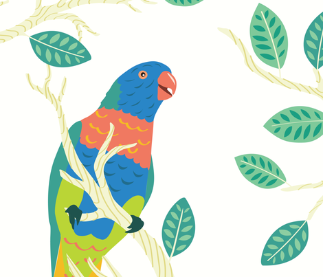 Parrot Birds in a Tree - Large Seamless Pattern fabric by designtherapy on Spoonflower - custom fabric