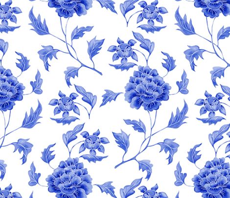 Chinoiserie Peony fabric by caela_bee_designs on Spoonflower - custom fabric