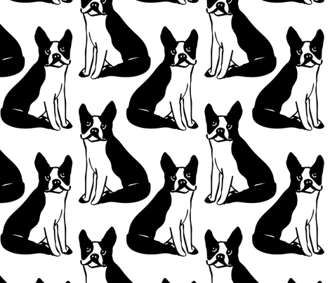 Boston Terriers fabric by sobonnydesigns on Spoonflower - custom fabric