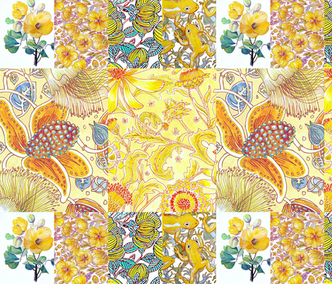 Yellows ,floral compilation  fabric by centralaustralian_wildflowerart on Spoonflower - custom fabric