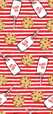 (large scale) milk and cookies for santa - red stripes C18BS