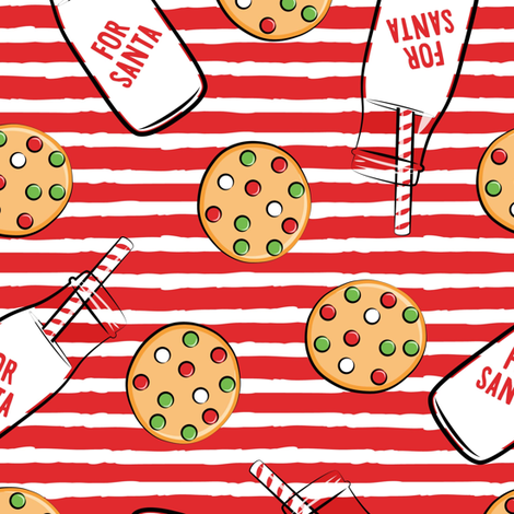 (large scale) milk and cookies for santa - red stripes C18BS fabric by littlearrowdesign on Spoonflower - custom fabric