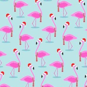 Christmas Flamingos - Blue