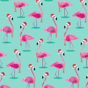 Christmas Flamingos - Watercolor on Aqua