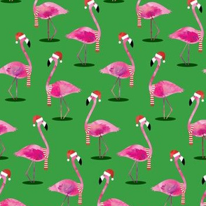 Christmas Flamingos - Watercolor on Green