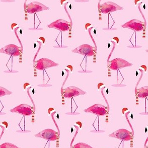 Christmas Flamingos - Watercolor on Pink