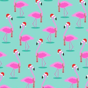 Christmas Flamingos - Aqua