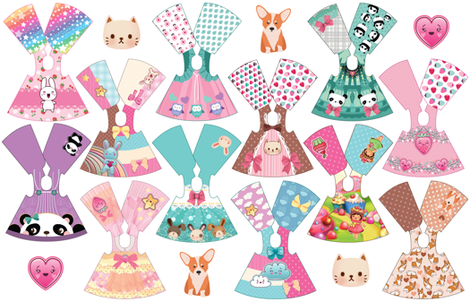 Kawaii Collection 14 inch doll dresses fabric by dollproject on Spoonflower - custom fabric