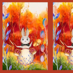 small THE DRUM PLAYER RABBIT  AUTUMN FOREST WOODLAND ANIMALS MUSIC ORCHESTRA PANEL FRAMED fall colors