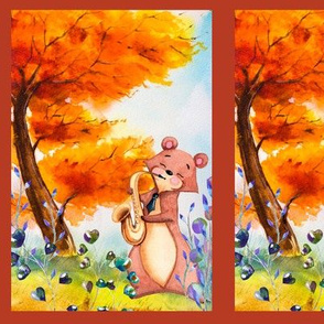 small THE SAXOPHONIST BEAR AUTUMN FOREST WOODLAND ANIMALS MUSIC ORCHESTRA PANEL FRAMED fall colors