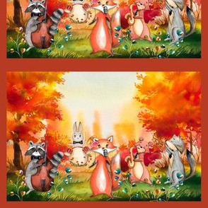 small AUTUMN FOREST WOODLAND ANIMALS MUSIC ORCHESTRA PANEL framed