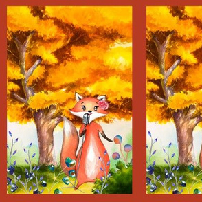 small THE SINGER FOX AUTUMN FOREST WOODLAND ANIMALS MUSIC ORCHESTRA PANEL FRAMED fall colors