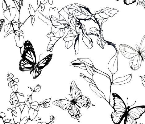Monochrome Botanica fabric by pettibear on Spoonflower - custom fabric