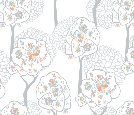 Woodlands silver trees jumbo size fabric by jac_slade on Spoonflower - custom fabric