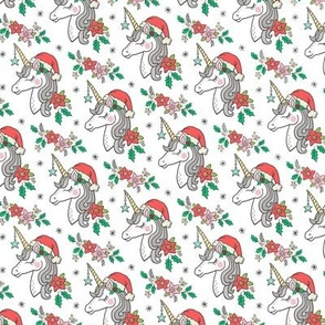 Christmas Unicorn on White Tiny Small 2 inch
