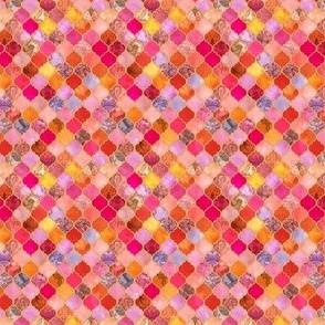 Hot Pink and Orange Decorative Moroccan Tiles Extra Tiny Print