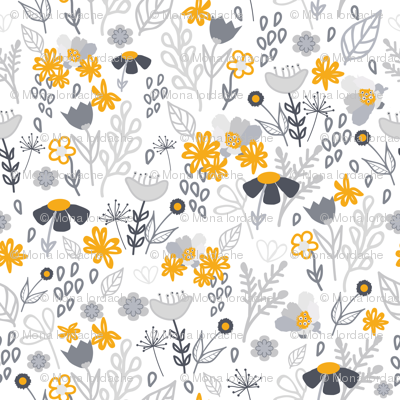 Gold and grey flowers pattern