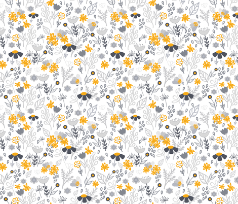 Gold and grey flowers pattern fabric by mdi_design_studio on Spoonflower - custom fabric