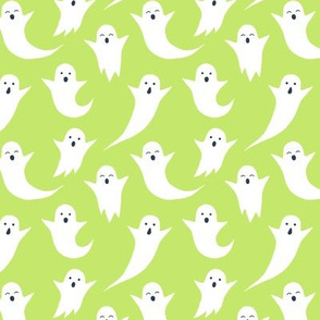 Halloween ghosts on lime green (without spiders)