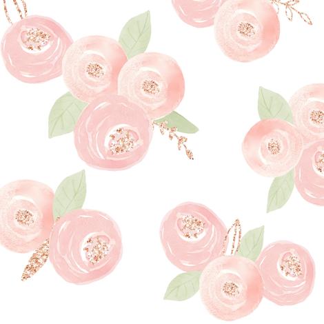 "12"" Sweet Dream Roses // White fabric by hipkiddesigns on Spoonflower - custom fabric"
